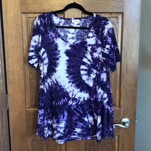 Lularoe Purple & White Tie Dyed Perfect Tee NWOT